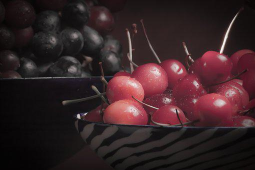 Cherry, Grapes, Still Life, Low Key, Warm Palette
