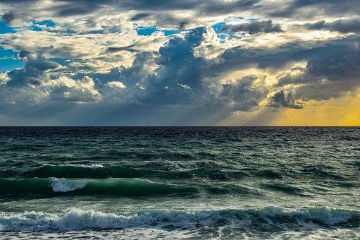 Sea, Ocean, Waves, Horizon, Seascape, Sky, Clouds