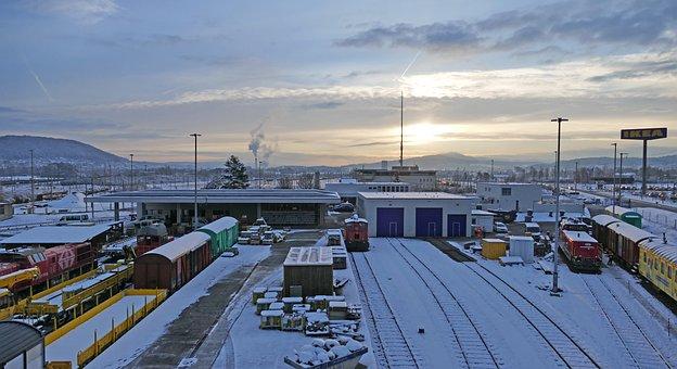 Winter, Landscape, Snow, Tracks, Railway, Sun, Sunrise