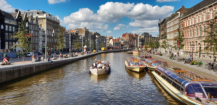 Amsterdam, Water, Channel, Netherlands, Holland, City