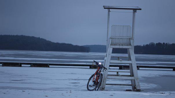 Bike, Lake, Winter, Water, Nature, Beach, Snow, Ice