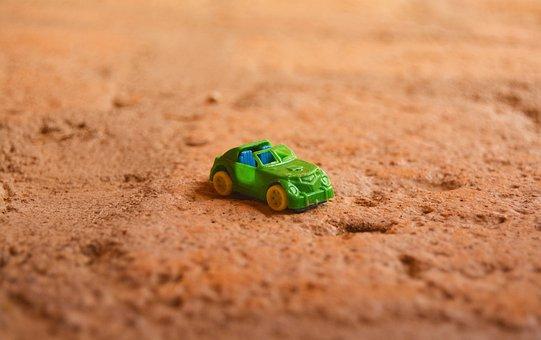Car, Toy, Fun, Soil, Green, Plastic