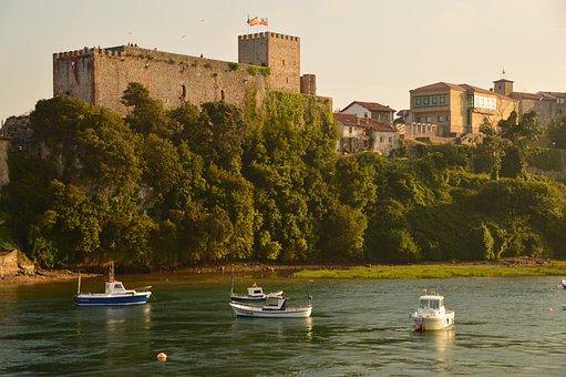 Landscape, River, Castle, Boats, Green, Medieval, Spain