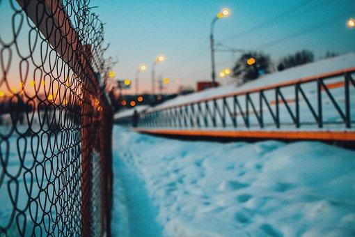 Road, Ice, Snow, Net, Fence, Sky, City, Bokeh