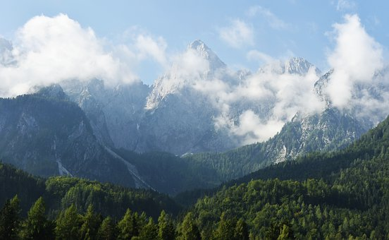 Mountains, Alps, Julian Alps, Clouds, Forest, Mountain