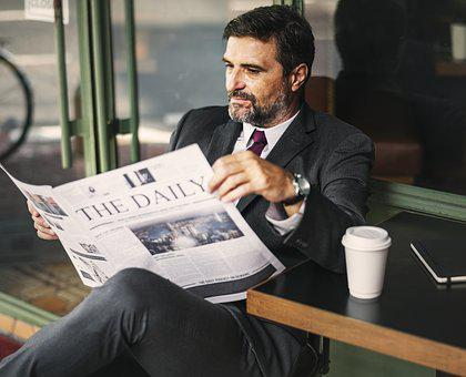 Break, Businessman, Cafe, Coffee, Coffee Cup, Newspaper