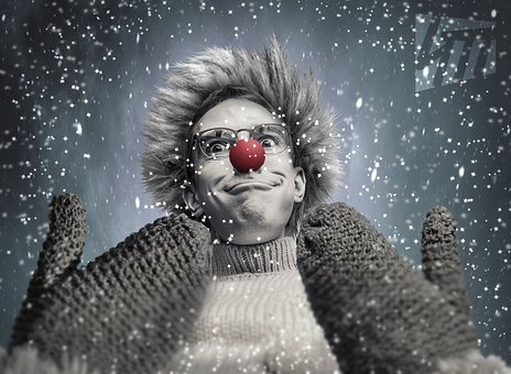 Winter, Snow, Mittens, Red Nose, Frost, Snowflakes