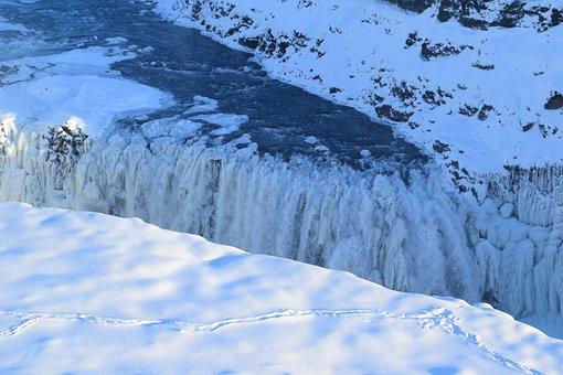 Waterfall, Iceland, Large, Huge, Ice, Winter, Frozen