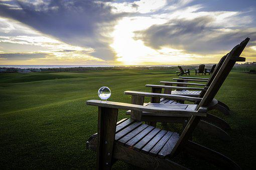 Crystal Ball, Golf Course, Sunset, Adirondack Chairs