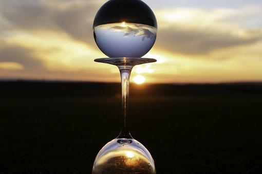 Crystal Ball, Sunset, Horizon, Wine Glass, Golf Course