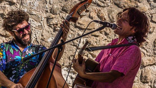 Street Musicians, Joy Of Life, Fun, Double Bass, Guitar