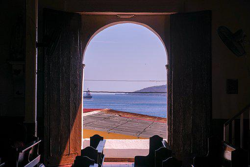 View, Ocean, The Door, Landscape, Window, Longing