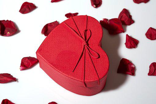 Heart, Box, Red, Leaves, Rose, Gift, Valentine's Day