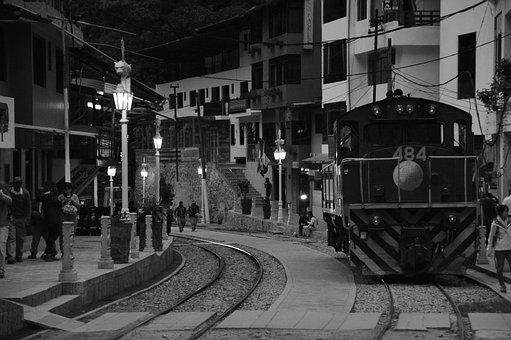Train, Black And White, Aguas Calientes, Machu Pichu
