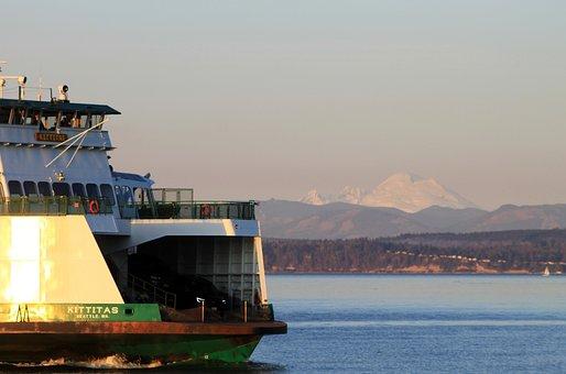 Ferry, Puget Sound, Mt Baker, Water, Boat, Seascape