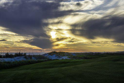 Golf Course, Shore, Sky, Ocean, Scenery, Sunset, Dunes