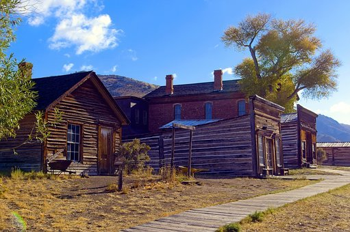 Old Bannack Shops And Hotel, Ghost, Town, Bannack