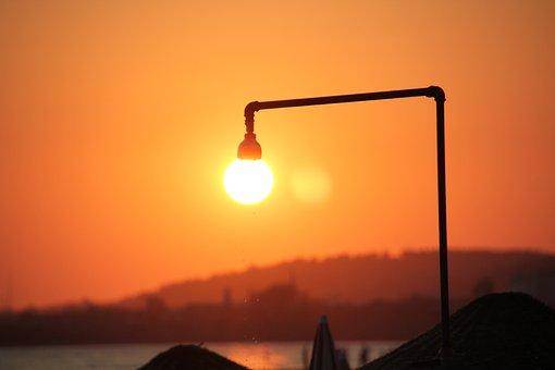 Sunset, Sea, Lantern, Shower, Sun, Pear, Sky, Dusk