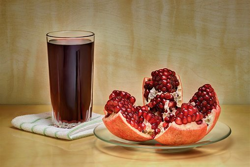 Pomegranate, Juice, Vitamin, Red, Healthy, Ripe