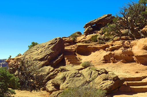 Steps On Grand View Trail, Desert, Rock, Stairs