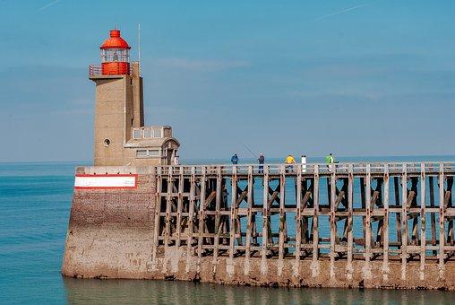 Fécamp, Sea, Roller, Blue, France, Normandy, Wharf