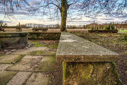 Bank, Seat, Park, Rest, Stone, Concrete, Wall, Masonry
