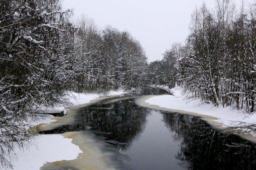 Landscape, Winter, Frozen, Warm, Snow, Snow River