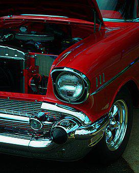 Car, Chevy, Red, Chevrolet, Auto, Vehicle, 1950s