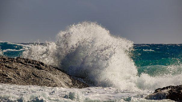 Wave, Crashing, Coast, Sea, Spray, Foam, Wind, Windy