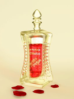 Perfume, Rose, Flavor, Red, Golden, Glass, Bottle