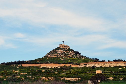 Gozo, Malta, Hill, Jesus, Christ, Statue, Green