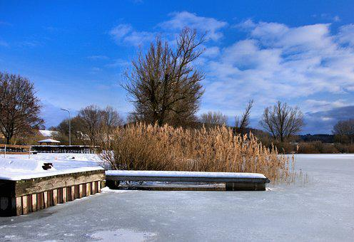 Jetty, Reed, Sky, Blue, Clouds, Wood, Snow, Lake