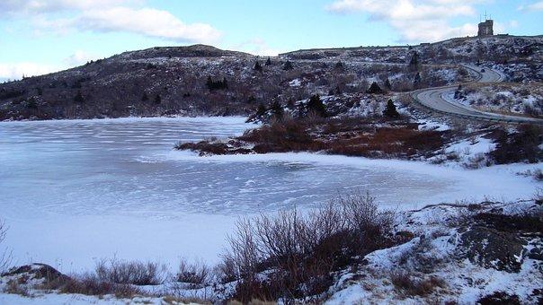 Winter, Landscape, St, John's, Signal Hill, Pond