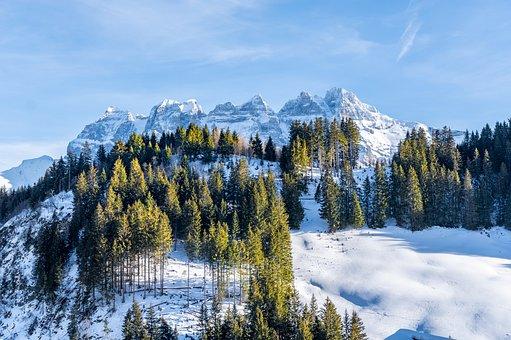 Champoussin, Switzerland, Snow, Mountains, Landscape