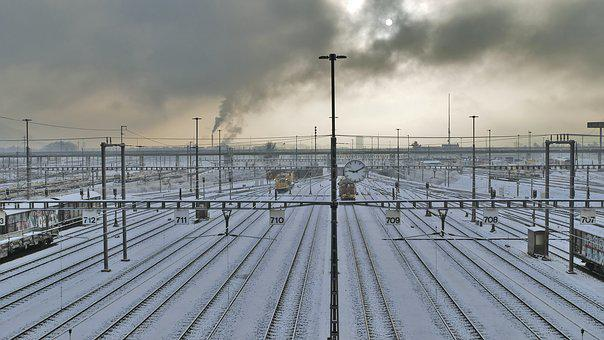 Landscape, Industry, Railway, Tracks, Winter, Snow