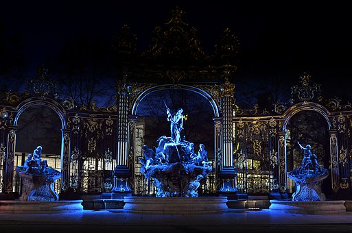 Place Stanislas, Nancy, Fountain, Neptune, Night, Blue