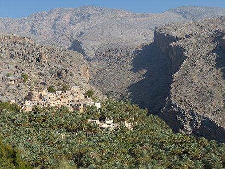 Outdoor, Village, Palm Grove, Oman, Landscape, Travel