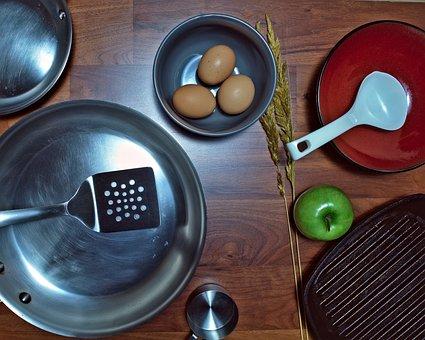 Pan, Eggs, Food, Kitchen, Dish, Cook, Spatula, Apple