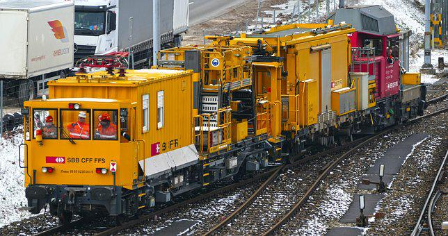 Traffic, Railway, Maintenance Vehicle, Rails, Winter