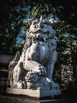 Guardian Dogs, Stone Statues, Shrine, Japan, Sculpture