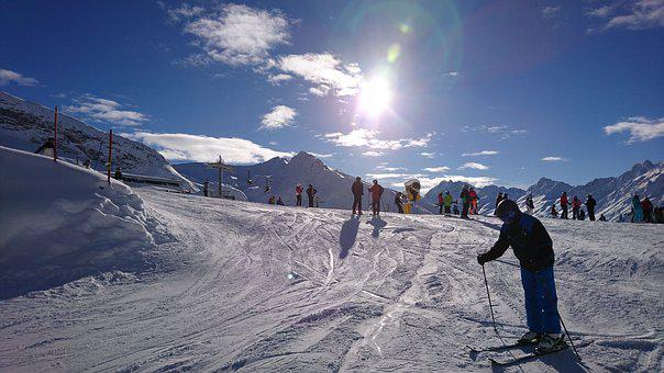 Skiing, Ski, Winter, Mountains, Snow, Sun, Blue, Sky