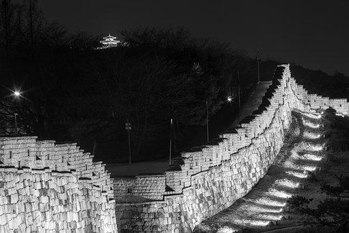 Suwon Hwaseong, Castle, Night View, The Night Sky