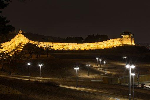 Suwon Hwaseong, Night View, Castle, Unesco