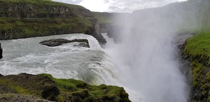 Iceland, Waterfall, Landscape, Water, Rock, Hills