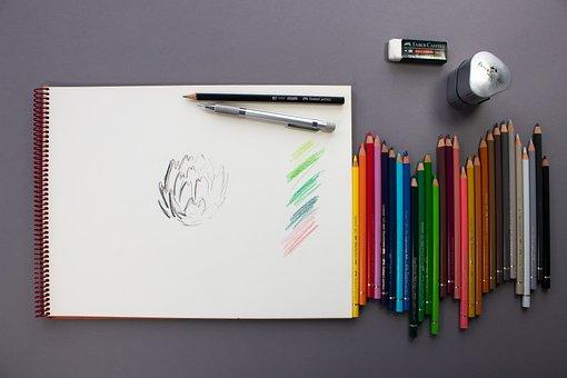 Colored Pencil, Pencil, Eraser, Spitzer
