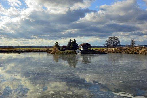 Landscape, Nature, Lake, Clouds, Winter, Ice, Frozen