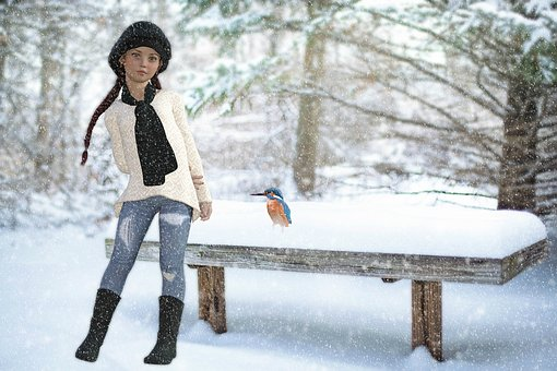 Snow, Winter, Girl, Kingfisher, Park, Bank, Cold