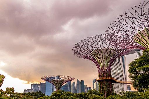 Singapore, City, Modern, Architecture, Glass, Blue