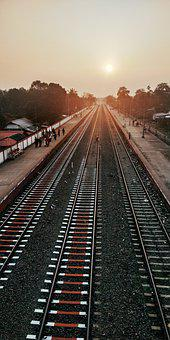 Railway, Indian, India, Sunset, Street, Trains Sun