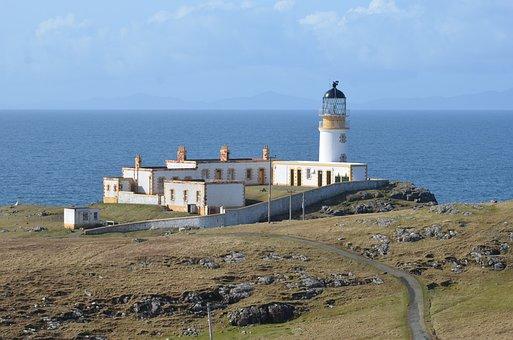 Neist Point, Lighthouse, Isle Of Skye, Scotland, Water